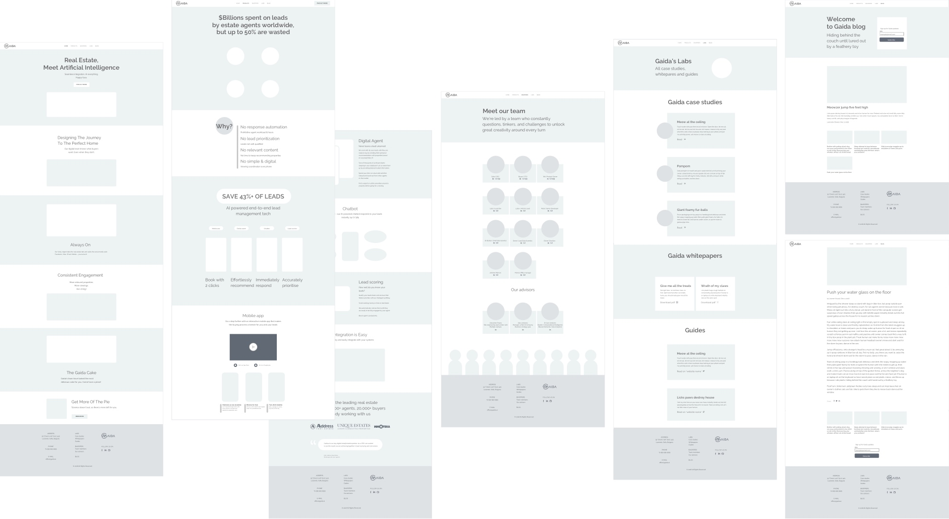 Gaida website wireframe all pages
