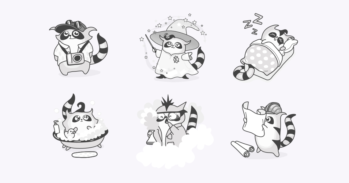 Enoti mascots cute illustrations